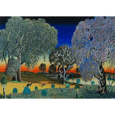 ELLIS Malcolm (Aboriginal School), Carrolup School Landscape with Kangaroos