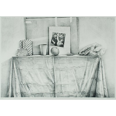 SCURRY John (1947), Still Life with Orange & Cup on Table, 1986