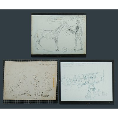 HART Pro (1928-2006) Two Works 'Happy Birthday Horse', & 'The Planes are a Bit Small'; and Artist Unknown 'Rhiannon - Why Can't You Just Play Darts Like Everybody Else ', 1981