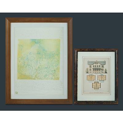 Two Donald FRIEND Prints, Including 'Design For a Semi-detached Villa'