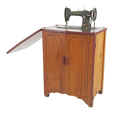 Vintage Maple Sewing Table with Husqvarna Sewing Machine