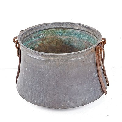 Large Middle Eastern Hand Beaten Copper Cauldron