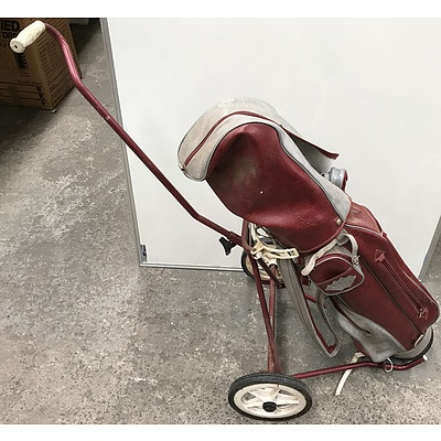 Lot Of Eight Golf Clubs With Bag And Trolley Cart