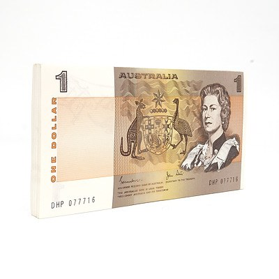 100 Consecutively Numbered Uncirculated $1 Johnston/ Stone Paper Notes DHP077716- DHP077815