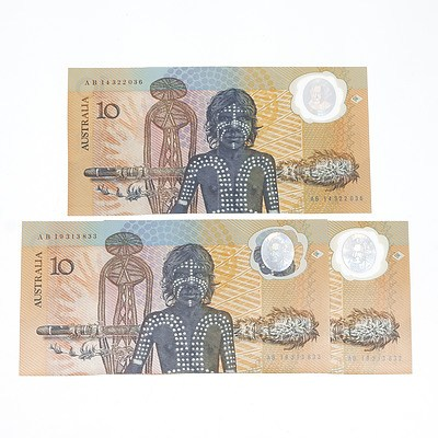Three Australian Polymer Bicentennial Commemorative $10 Notes, Two Consecutively Numbered, AB19313832- AB193133, AB14322036