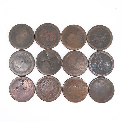Twelve George III Cartwheel Pennies