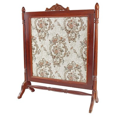 Antique Tapestry Fire Screen with Glass Front