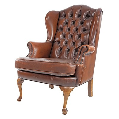 Moran Deep Buttoned Tan Leather Wingback Armchair