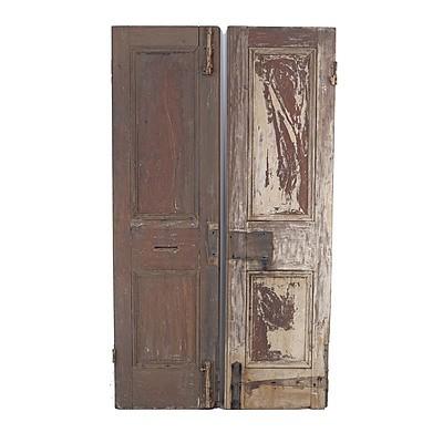 Pair of Antique Doors with Handle Mechanism