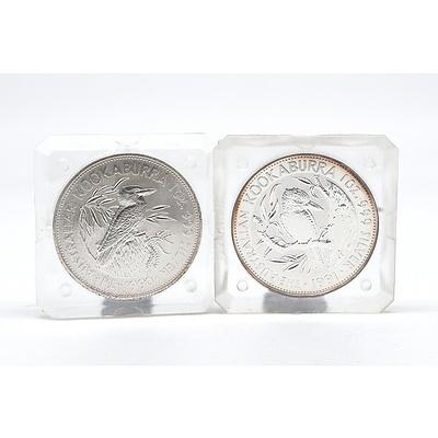 A 1990 and 1991 $5 Australian .999 Silver Kookaburra 1 oz Coins