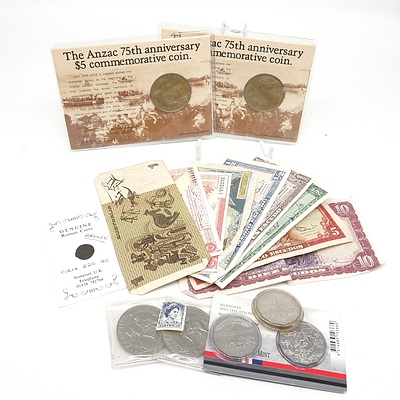 Bronze Roman Coin, Commonwealth of Australia Johnson/ Stone $1 Note, Melbourne Cup 50c Peices and More