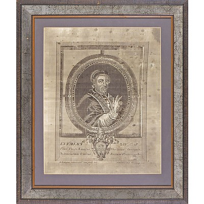 19th Century Jacquard Loomed Silk Embroidery After an Earlier Engraving of Pope Clemens XIV