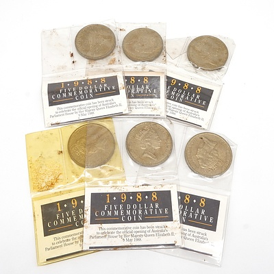 Six 1988 $5 Australian Commemorative Coins - Official Opening of Parliament