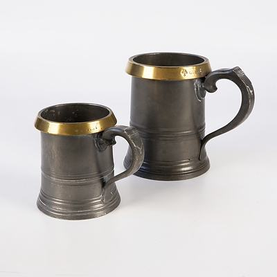 Two Victorian English Pewter Tankards with Brass Rims, Including Pint & Quart