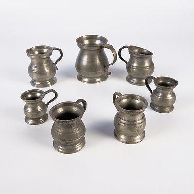 Seven Antique English Pewter Measures
