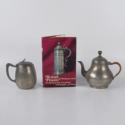 Australian Pewter Golf Trophy, Dutch Pewter Teapot and British Pewter & Britannia Metal Referance Book