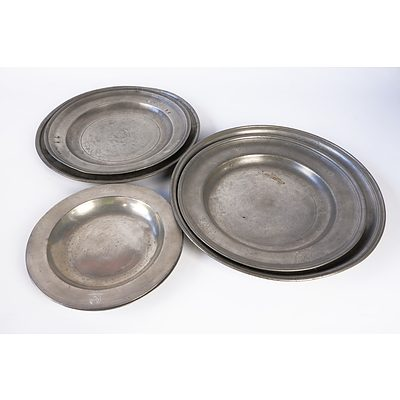 Six Antique Pewter Chargers and Platters