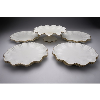 Vintage Coalport Tazza and Eight Matching Plates with Ruffled Edge