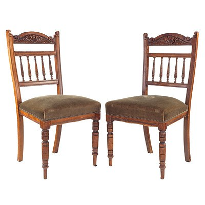 Pair of Edwardian Fabric Upholstered Dining Chairs, Early 20th Century