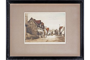 Mabel Catherine Robinson (British 1875-1953) Village High Street, Hand Coloured Engraving