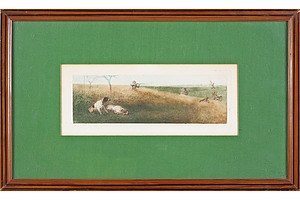Two Raymond Madsen (Paris) Hand Coloured Etchings, Hunting Scenes