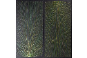 Rex Sultan Jabangardi (1963-) Spinifex Triptych, Oil on Canvas