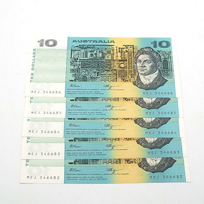 Five Consecutively Numbered Fraser/ Higgins $10 Notes, MEJ346682-MEJ346686
