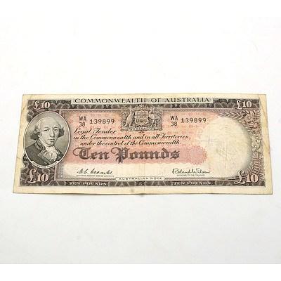 Commonwealth of Australia Coombs/Wilson Ten Pound Note WA38 139899