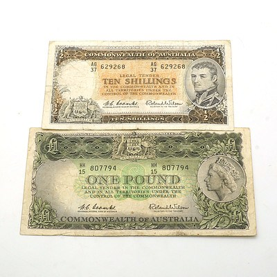 Commonwealth of Australia Coombs/Wilson One Pound Note HH15 807794 and Ten Shilling Note AG37 629268