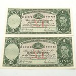 Two Consecutively Numbered Commonwealth of Australia Armitage/ McFarlane One Pound Notes, JO 605721- JO 605722