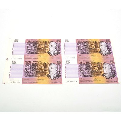 Uncut Block of Four Low Serial Number Fraser/ Higgins $5 Notes, QDS000058, QDT000058, QDH000058 and QDJ000058