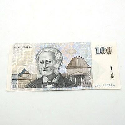 Australian $100 Fraser/ Johnston Note, ZCA238226