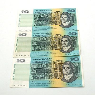 Three Australian $10 Notes, Fraser/Higgins UYZ155384, Fraser/Cole MNF199132 and Knight /Stone TVQ140830