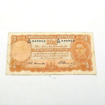 Commonwealth of Australia Coombs/Watts Ten Shilling Banknote, A66 349962