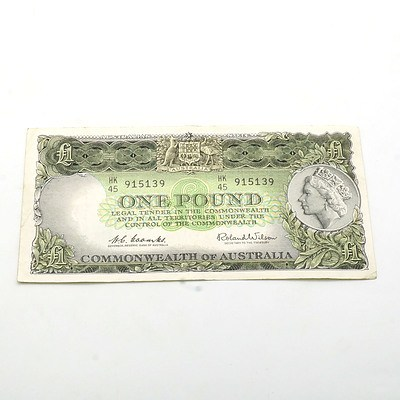 Commonwealth of Australia Coombs/Wilson One Pound Note HK45 915139