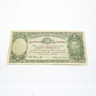 Commonwealth of Australia Coombs/Wilson One Pound Note X49090684