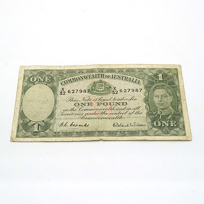 Commonwealth of Australia Coombs/Wilson One Pound Note X32627987