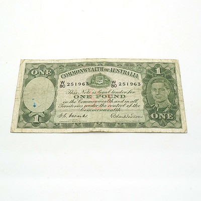 Commonwealth of Australia Coombs/Wilson One Pound Note W80251963