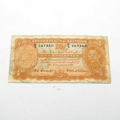 Commonwealth of Australia Coombs/Wilson Ten Shilling Banknote, B3 567360