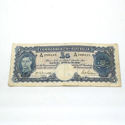 Commonwealth of Australia Armitage/McFarlane Five Pound Note R74298225