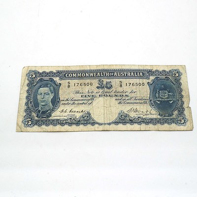 Commonwealth of Australia Coombs /Watts Five Pound Note S8176500