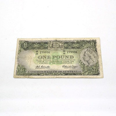 Australian Coombs/ Wilson One Pound Note HK38279936