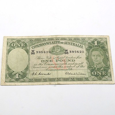 Commonwealth of Australia Coombs/Wilson One Pound Banknote, W98 395620