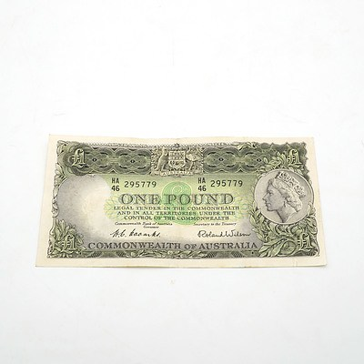 Commonwealth of Australia Coombs / Wilson One Pound Note, HA46 295779