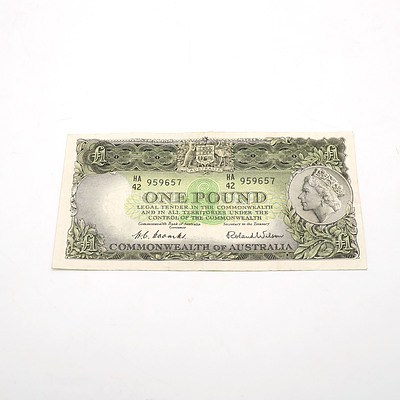 Commonwealth of Australia Coombs / Wilson One Pound Note, HA42 959657