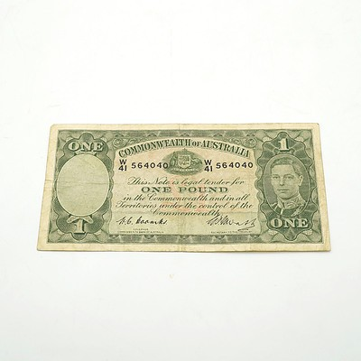 Commonwealth of Australia Coombs / Watts One Pound Note, W41 564040
