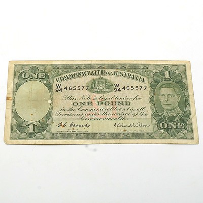 Commonwealth of Australia Coombs/Wilson One Pound Banknote, W94 465577