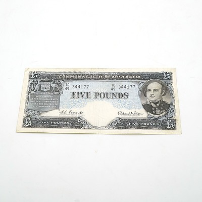 Commonwealth of Australia Coombs / Wilson Five Pound Note, TC49 344177