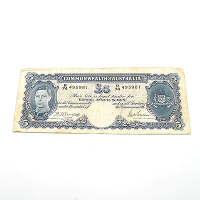 Commonwealth of Australia Armitage / McFarlane Five Pound Note, R74 495981