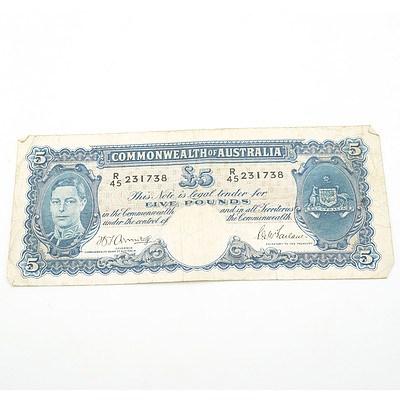 Commonwealth of Australia Armitage / McFarlane Five Pound Note, R45 231728